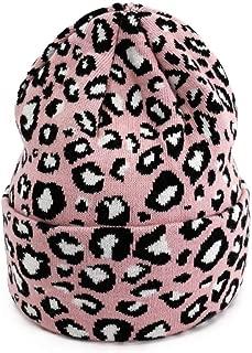 MZHHAOAN Knit Hat Autumn and Winter Warm Leopard Cap Warm Headgear Female Men and Women Cap Soft Warm,Pink,One Size