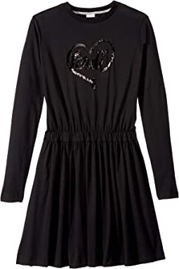 Long Sleeve Logo Heart Dress (Big Kids)