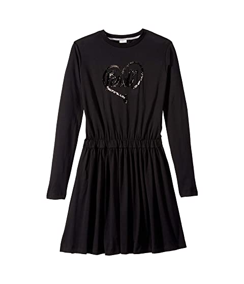 Fendi Kids Long Sleeve Logo Heart Dress (Big Kids)