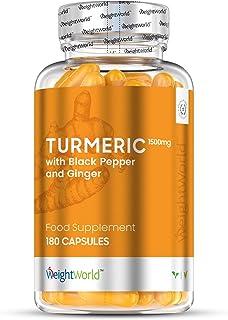 Cúrcuma con Jengibre y Pimienta Negra de 1500 mg - Potente Antiinflamatorio y Antioxidante, Mejora Circulación, Sistema Inmunológico y Articulaciones, Con Curcumina y Bioperine, 180 Cápsulas