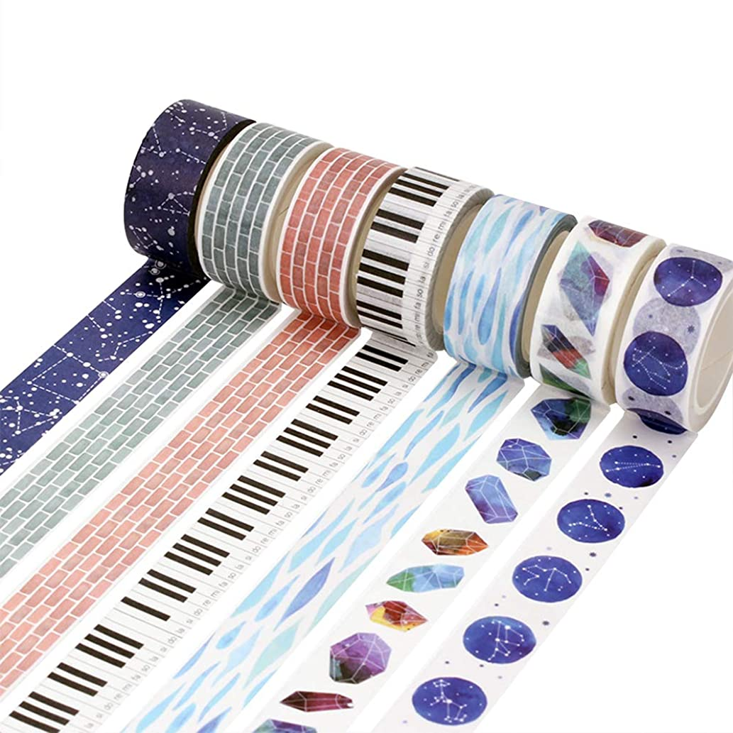 Washi Tape Set (13 Rolls) Peacock Feather Gold Snowflake Balloon Diamond Dream Catcher Musical Note Piano Brick Wall Constellation Starry Sky Blue Ocean Wave Masking Tapes for Scrapbook Arts Craft DIY