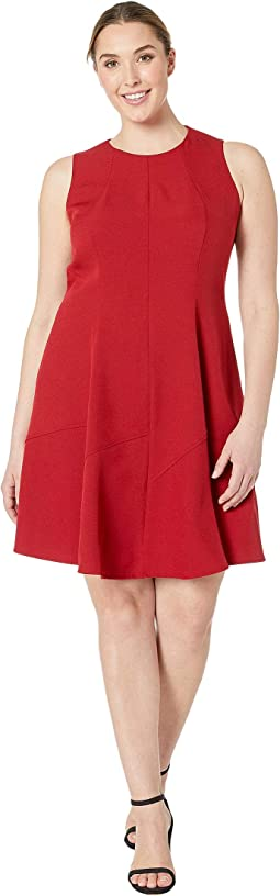 Plus Size Crepe Seamed Fit & Flare Dress