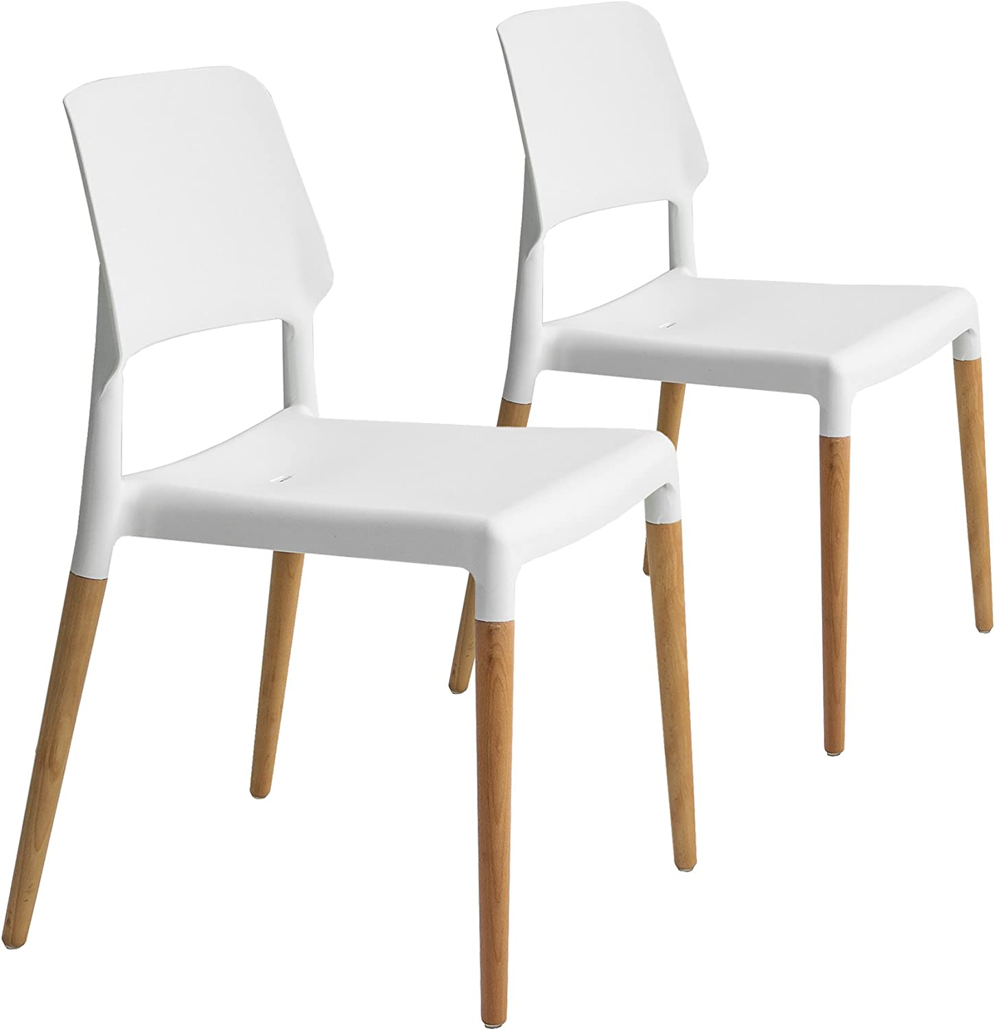 Buschman Set of Two White Dining Mid Century Modern Design Chairs