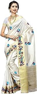 Women's Tassar Silk Saree with Blouse Piece (2085-Emb-Hwht,Half White,Free Size)