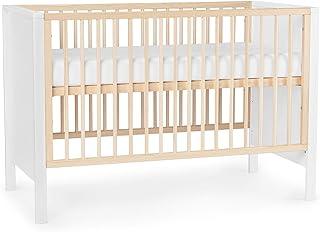 Kinderkraft Kinderbett MIA, Babybett aus Holz, Gitterbett, mit Matratze, Bettumrandung, 3 Stufen Höhenverstellbar, von Geburt bis zu Höhe 120 cm, Weiß