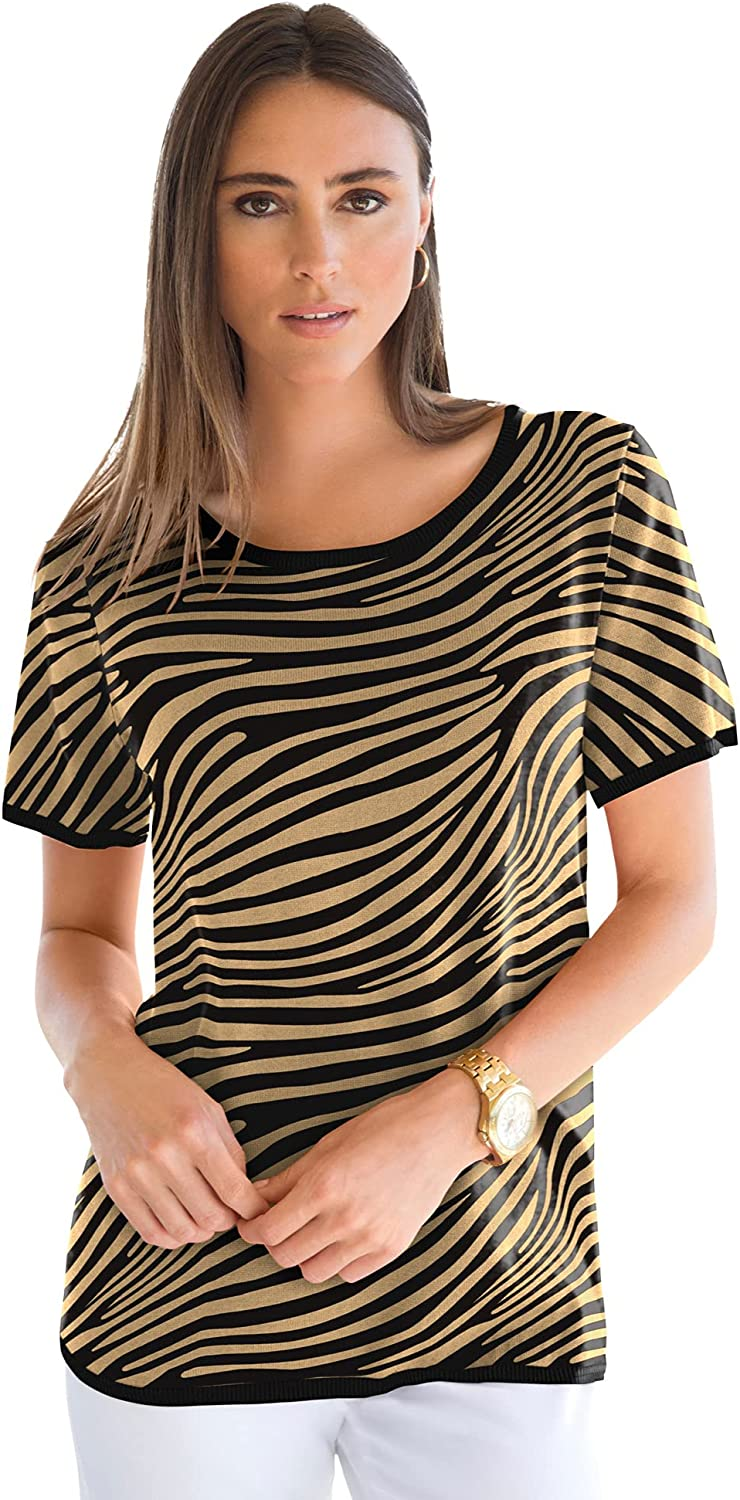 Jessica Manufacturer direct delivery London Women's All items free shipping Plus Size Short Crewneck Gauge Fine Shell