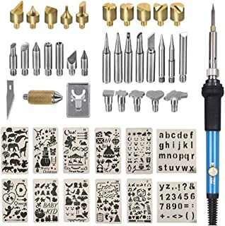 Wood Burning Kit, Wood Burning Tool Adjustable Temperature Woodburning Pyrography Pen Kit for Adults 46 Pcs