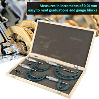 Micr/ómetro Cocoarm 4 piezas 0-100 mm micr/ómetros externos m/étricos medidores de espesor medidores de medici/ón con carcasa