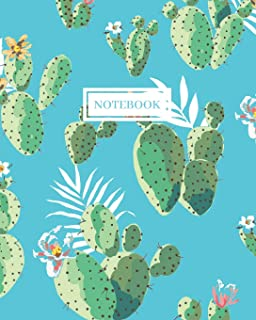 Notebook: Wide Ruled Notebook for Everyday Use Fun Cactus on Aqua Background