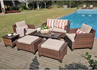 SUNSITT Outdoor Furniture Set 8-Piece Patio Lounge Chair Sofa with Ottoman & Loveseat Brown Wicker Neutral Beige Cushions, Coffee Table & Side Table w/Aluminum Top