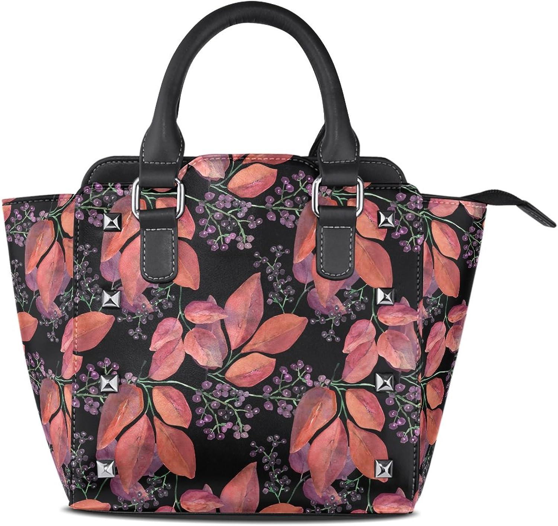 My Little Nest Women's Top Handle Satchel Handbag Watercolor Leaves Ladies PU Leather Shoulder Bag Crossbody Bag
