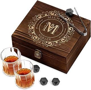 Murrano Whisky Steine Set - in Holzbox mit Gravur - 8 Eiswürfel  2 Whisky Gläser - wiederverwendbar - aus Granit - Geschenk für Männer - Buchstabe