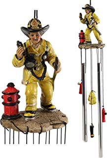 Ebros Gift Yellow Gear Outfit Fireman in Line of Duty with Axe and Red Hydrant Resonant Relaxing Wind Chime Patio Garden Accent of Fire Fighters Hydrants 911 Emergency Civil Service