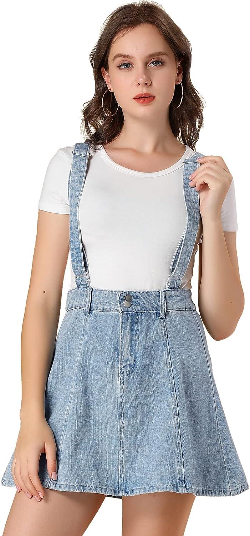 Allegra K Women's Denim A-Line Overall Adjustable Strap Braces Mini Suspender Skirt