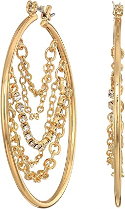 Hoop with Draped Chains and Stones Inside Earrings