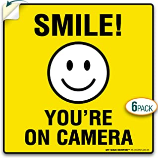 My Sign Center (4 Pack) Smile You're On Camera Sticker, 24 Hour Video Surveillance Sticker, Premium 4 Mil Self Adhesive Vinyl Decal, Indoor and Outdoor Use, 5.5