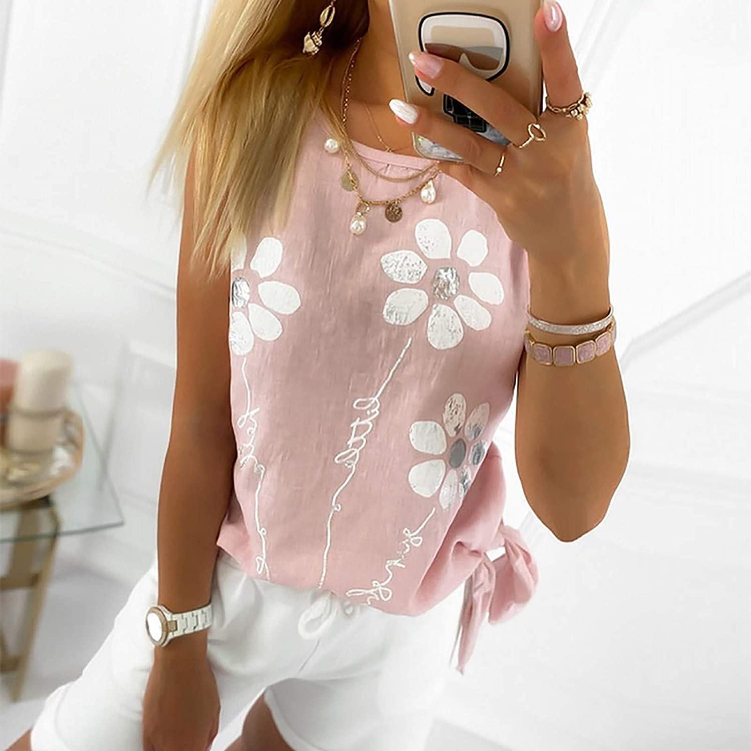 SUNYUAN Womens Sleeveless Vest Cute Flower Graphic Blouse Round Neck Tie Knot Loose Summer Basic Comfy Casual Tunic Tops