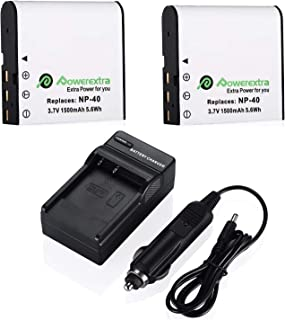 Powerextra 2 x NP-40 Battery and Charger Compatible with Casio NP-40, Casio Exilim EX-Z600, EX-Z750, EX-Z1000, EX-Z1050, E...