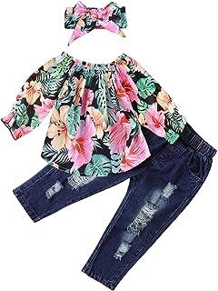 TROSJ Little Girls Off Shoulder Ruffle Floral Flower Tops Distressed Jeans Shirts Clothes Set