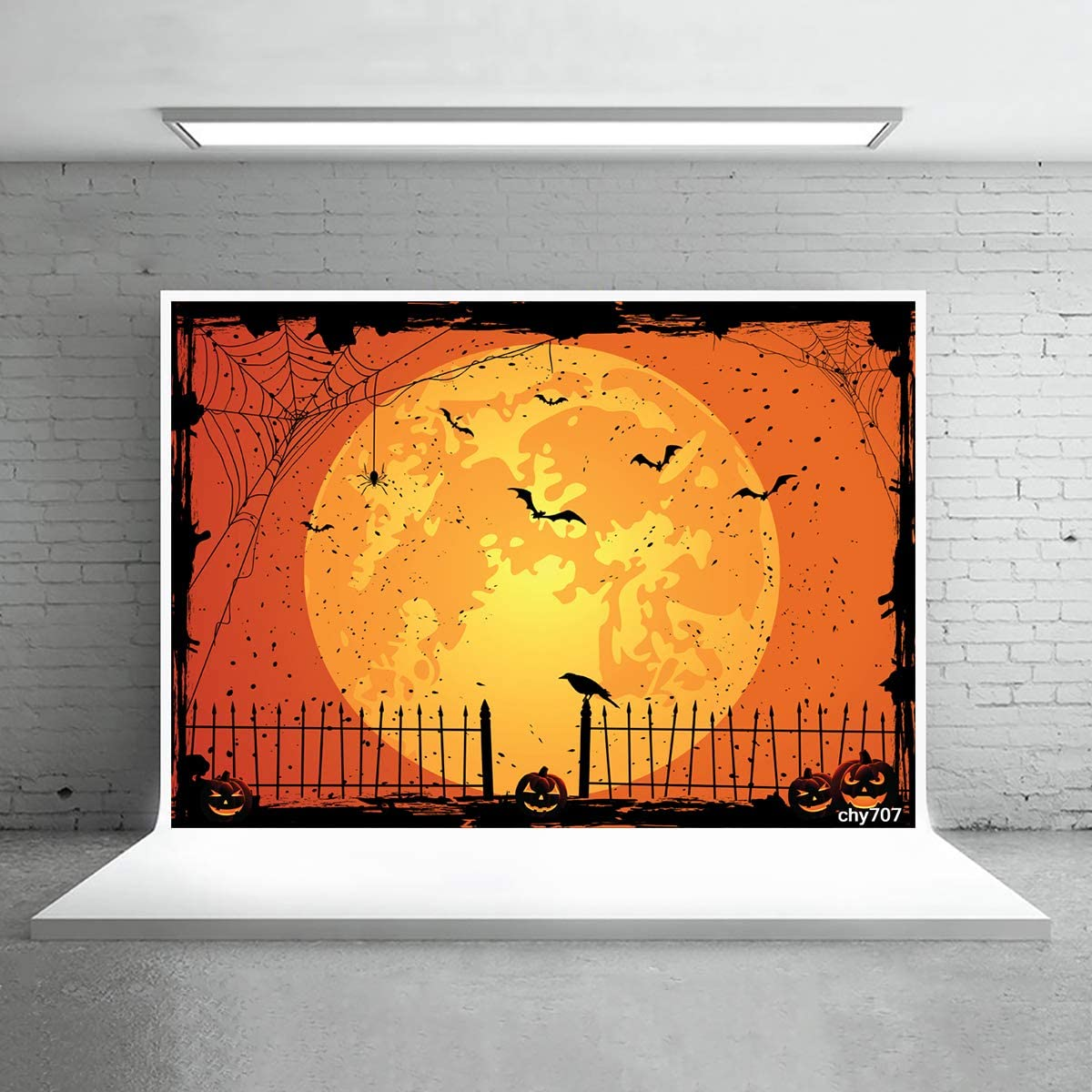 Levoo Flannel Cartoon Skull Pumpkin Background Banner Photography Studio Children Baby Birthday Family Party Halloween Holiday Celebration Photography Backdrop Home Decoration 6x4ft,chy704