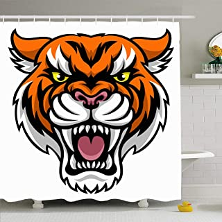 Ahawoso Shower Curtain Set with Hooks 60x72 3D Angry Looking Tiger Clipart an Mascot Animal Character Animals Wildlife Sports Recreation Face Waterproof Polyester Fabric Bath Decor for Bathroom