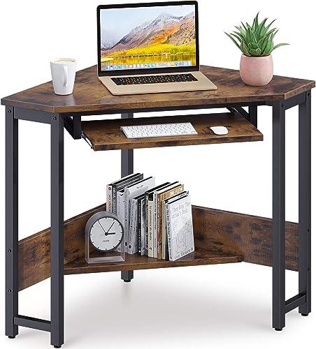 popular ODK outlet sale lowest Corner Desk, Triangle Computer Desk, Small Desk Sturdy Steel Frame for Workstation with Smooth Keyboard Tray & Storage Shelves, Vintage online sale