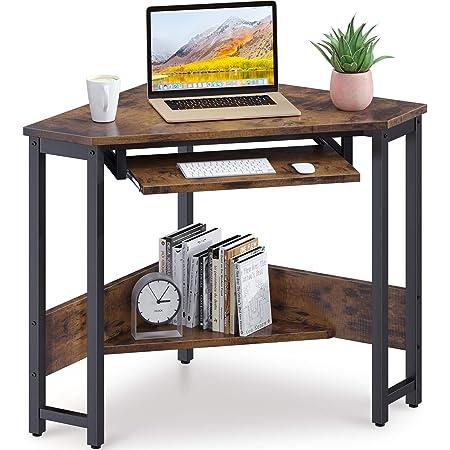 ODK Corner Desk, Triangle Computer Desk, Small Desk Sturdy Steel Frame for Workstation with Smooth Keyboard Tray & Storage Shelves, Vintage