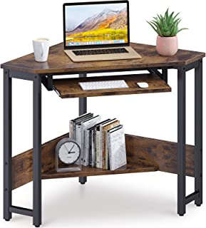 ODK Corner Desk, Triangle Computer Desk, Small Desk Sturdy Steel Frame for Workstation with Smooth Keyboard Tray & Storage...