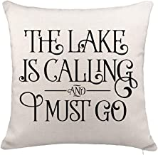 YOENYY The Lake is Calling and I Must Go Inspirational Quote Throw Pillow Cover Cushion Case for Sofa Couch Summer Holiday Home Decor Cotton Linen 18