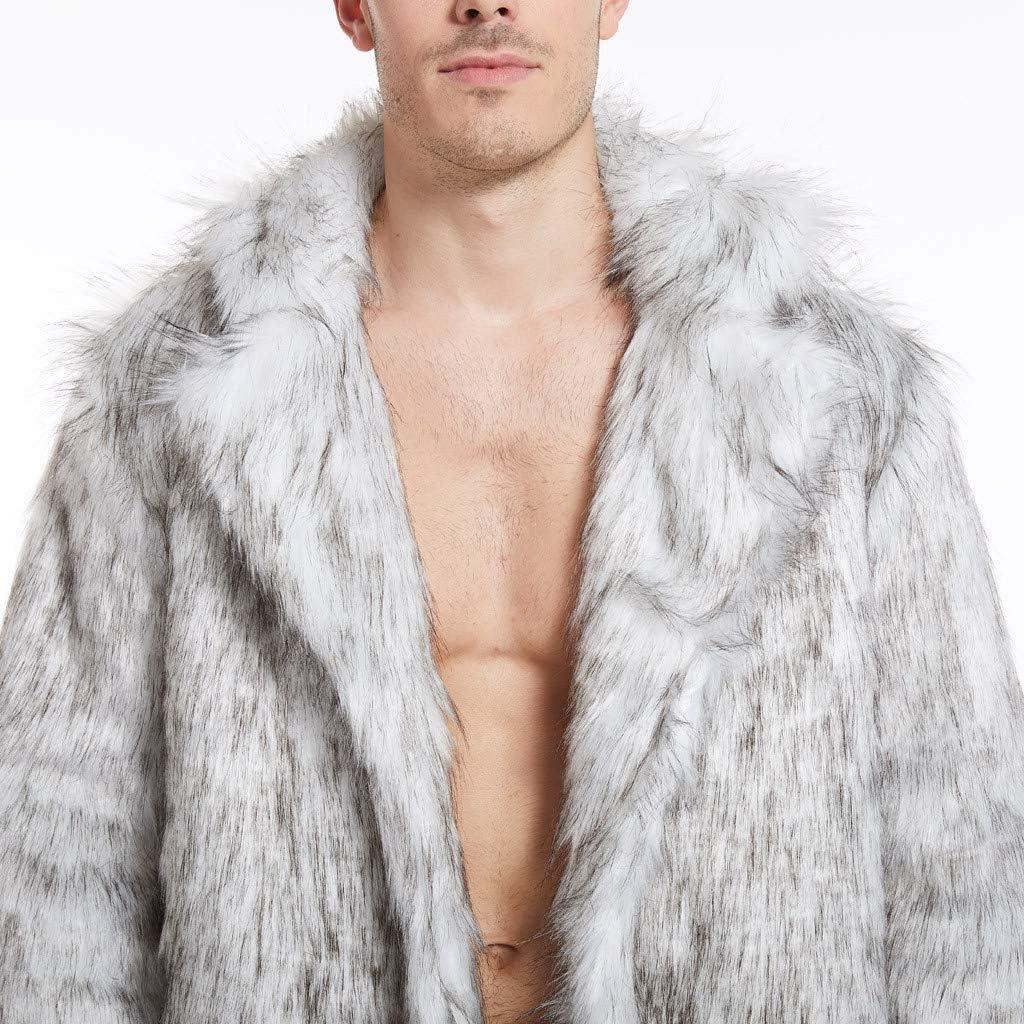 NREALY Men Winter Faux Fox-Fur' Coat Turn-Down Collar Long Jackets