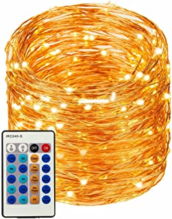 LED String Lights 99ft 300 LEDs String Lights Dimmable with Remote Control, Waterproof Lights for Bedroom, Parties, Garden, Wedding, Yard, (Copper Wire Lights, Warm White99ft)