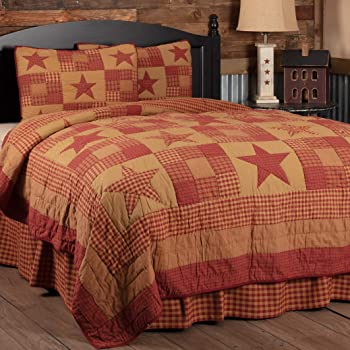 VHC Brands Ninepatch Star King Quilt 105Wx95L Country Patchwork Design, Burgundy