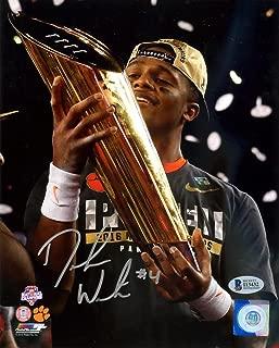 DeShaun Watson Autographed 8x10 Photo Clemson Tigers Holding Trophy BAS