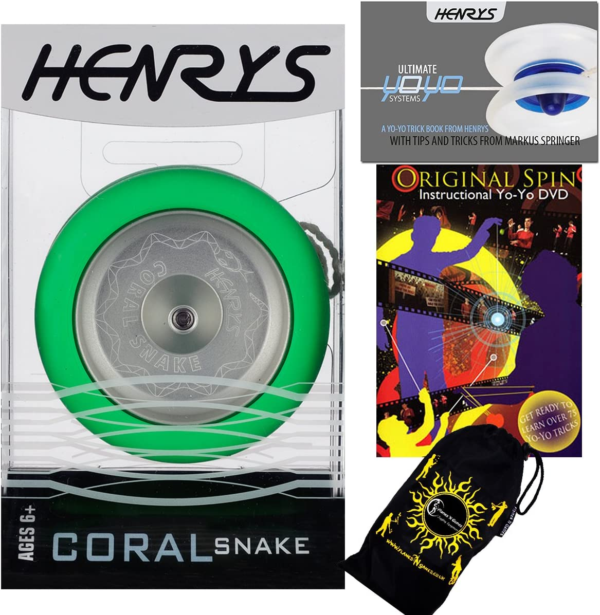 Henrys CORAL SNAKE YoYo Green Metal Professional Super Fresno Mall popular specialty store Looping Trick