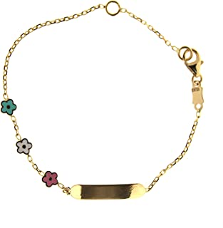 18 K Yellow Gold Enamel Pink Flower Id Bracelet 5.5 inches with extra ring in 5 inches