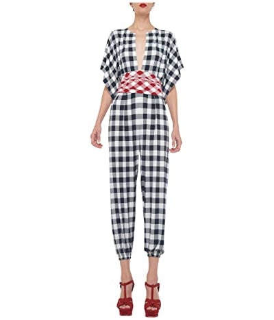 KAMALIKULTURE by Norma Kamali Rectangle Jog Jumpsuit (Black Buff Check) Women