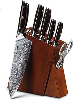 Couteaux de Cuisine Ensembles de couteaux de cuisine 7 pcs pro Damas Couteaux en acier Meilleur Chef Couteau sertie d'un e...
