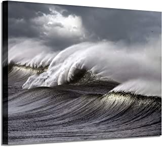 Abstract Ocean Waves Wall Art: Seascape Artwork Painting Print on Canvas for Wall Decor for Living Room Bedroom(36''x24''x1panel)