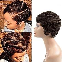 Short Finger Wave Curly Wigs Mommy Hair Wig 100% Human Hair Short Wavy Curly Wig Pixie Cut Wig For Black Women (2# Dark Brown)