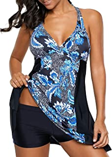 04b2a5d1c1 Allimy Women Paisley Printed Swimdress Tummy Control Two Piece Swimsuit  Tankini M-3X