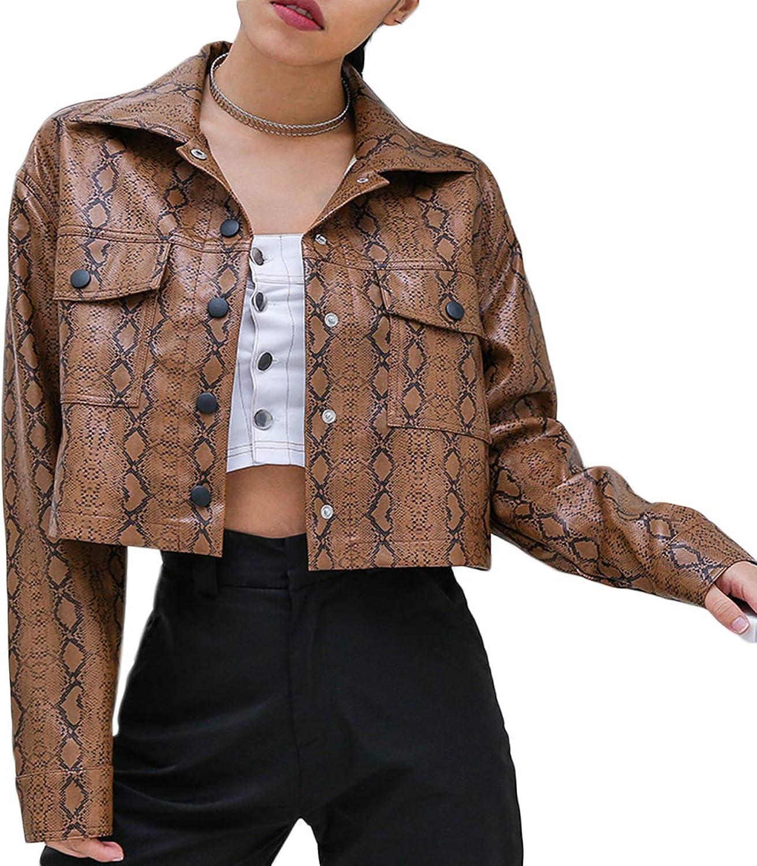 WENFUMEI Snakeskin PU Leather Short Jacket Women Button Biker Moto Bomber Jackets
