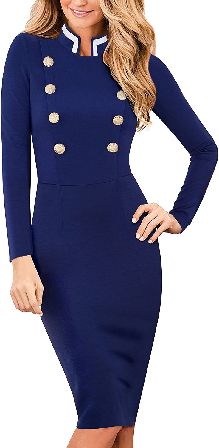 HOMEYEE Women's Vintage Long Sleeve Button Pencil Formal Dress B410