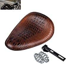 KaTur Universal Motorcycle Crocodile Leather Style Saddle Solo Seat Cushion Spring for Harley/Honda/Yamaha/Kawasaki Brown