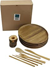 Round Wood Dinnerware Set, Natural Handcrafted Wooden Plates Set, Dinner Plates, Appetizer Plates and Soup Bowls, Easy Cle...