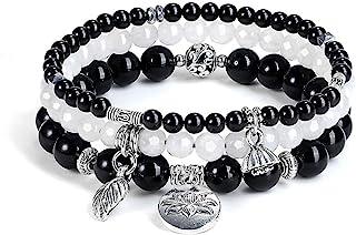 Jovivi 3pcs Amethyst Rose Quartz Crystal Beaded Chakra Bracelet Natural Healing Energy Lotus Charm Beads Stone Reiki Stack...