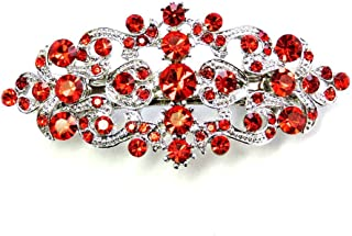 Red Hair Barrette Clip Bridal Bridesmaid Flower girl Wedding Party Prom Pageant