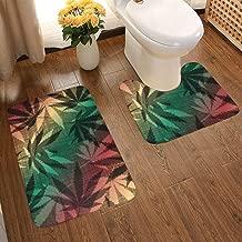 Soft Comfort Flannel Bathroom Mats Retro Hemp Leaves Pattern Non Slip Bath Mat Washable Entry Rugs 2pcs/Set Carpet Rugs
