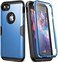 YOUMAKER Case for iPhone 8 & iPhone 7, Full Body Rugged with Built-in Screen Protector Heavy Duty Protection Slim Fit Shockproof Cover for Apple iPhone 8 (2017) 4.7 Inch - Blue/Black