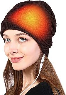 iFCOW Conjunto de polaina para el cuello con calentador USB 2 en 1 unisex de invierno de punto Beanie Hat Circle Loop Bufanda