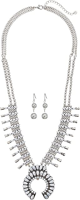 M&F Western - 4 Strand Squash Blossom with White Stones Necklace/Earrings Set